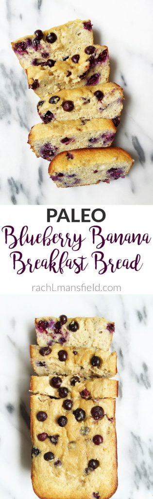 Paleo Blueberry Banana Breakfast Bread made with 8 ingredients