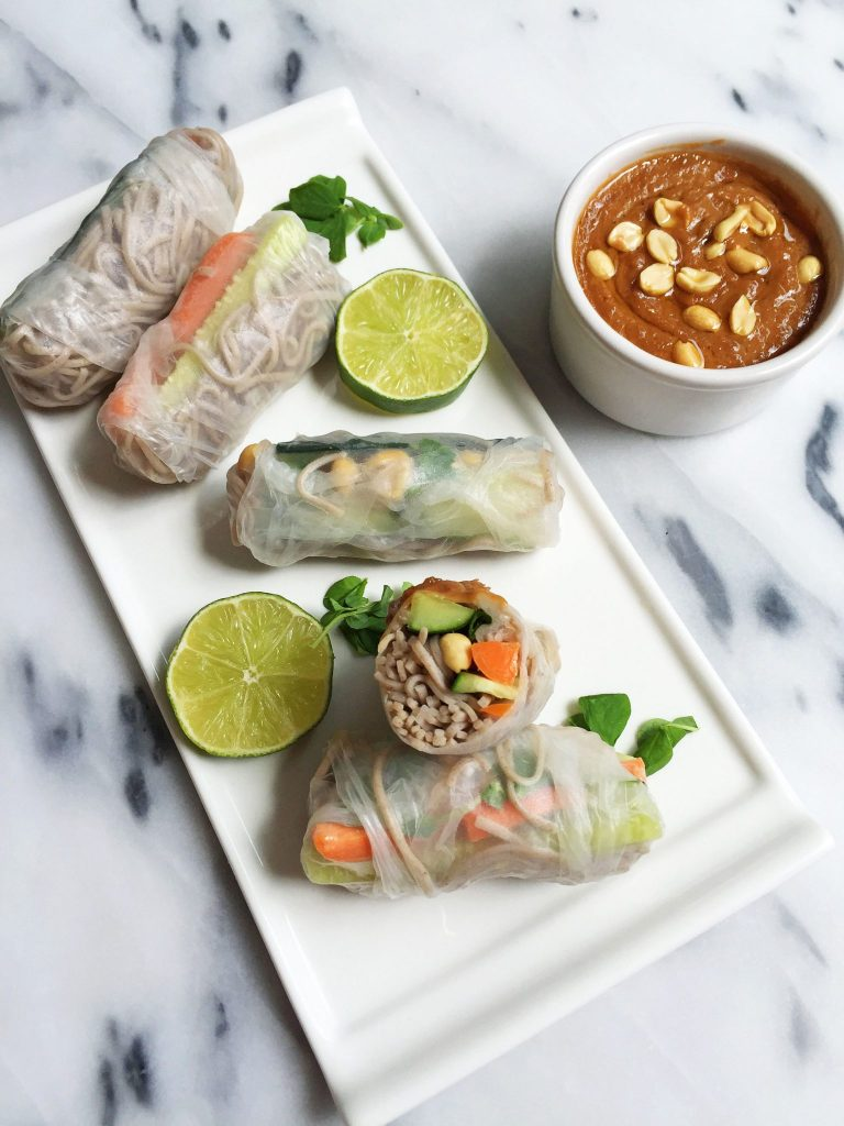 Easy Vegan &Gluten-free Soba Noodle Spring Rolls with Creamy Peanut Sauce