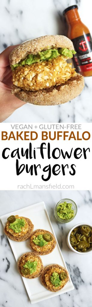 Baked Buffalo Cauliflower Burgers made with less than 10 ingredients