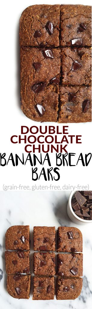 Grain & Dairy-free Double Chocolate Chunk Banana Bread Bars