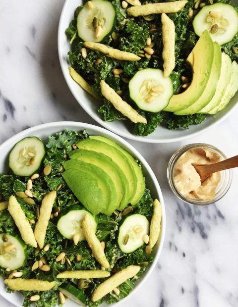 Crunchy Green Goddess Salad with Tahini Dressing