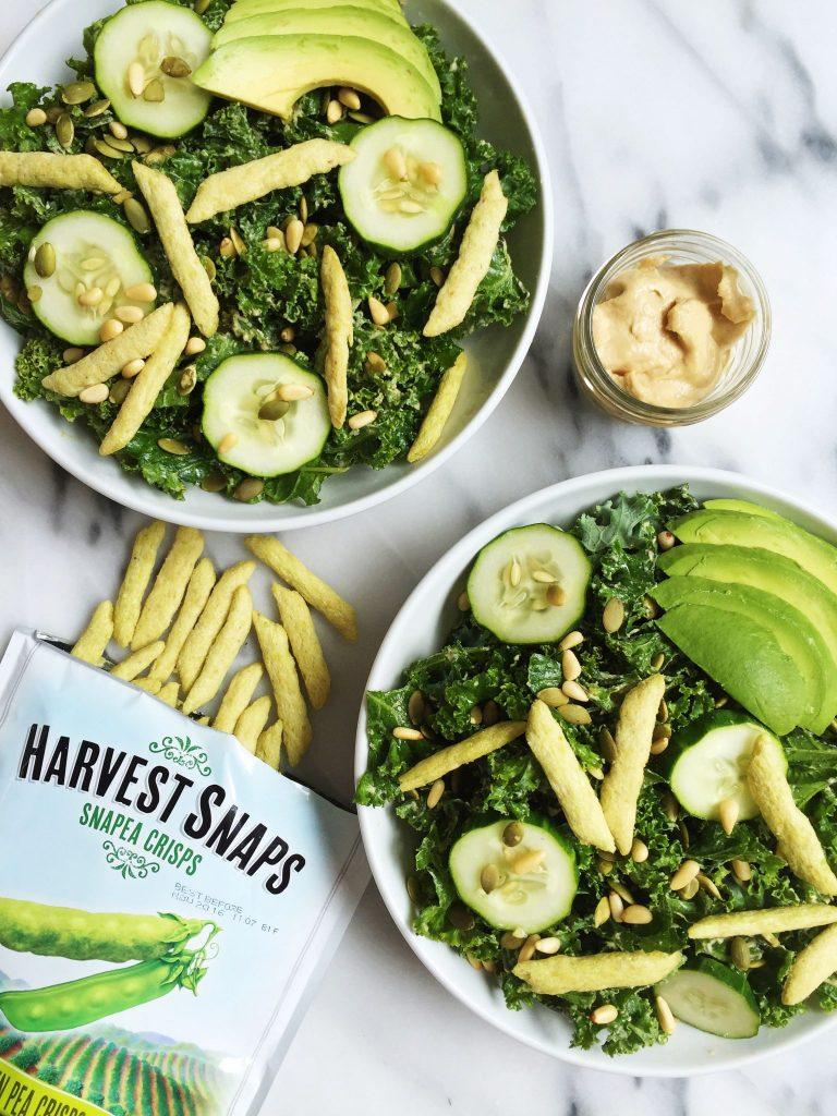 Vegan & Gluten-free Crunchy Green Goddess Salad with Tahini Dressing