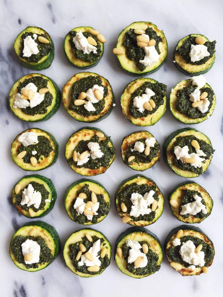Healthy and Delicious Bite-Size Zucchini Pizzas with Supergreen Pesto