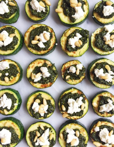 Mini Zucchini Pizzas with Supergreen Pesto