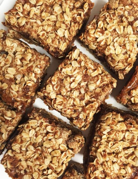 Flourless Oatmeal Cookie Carmelita Bars