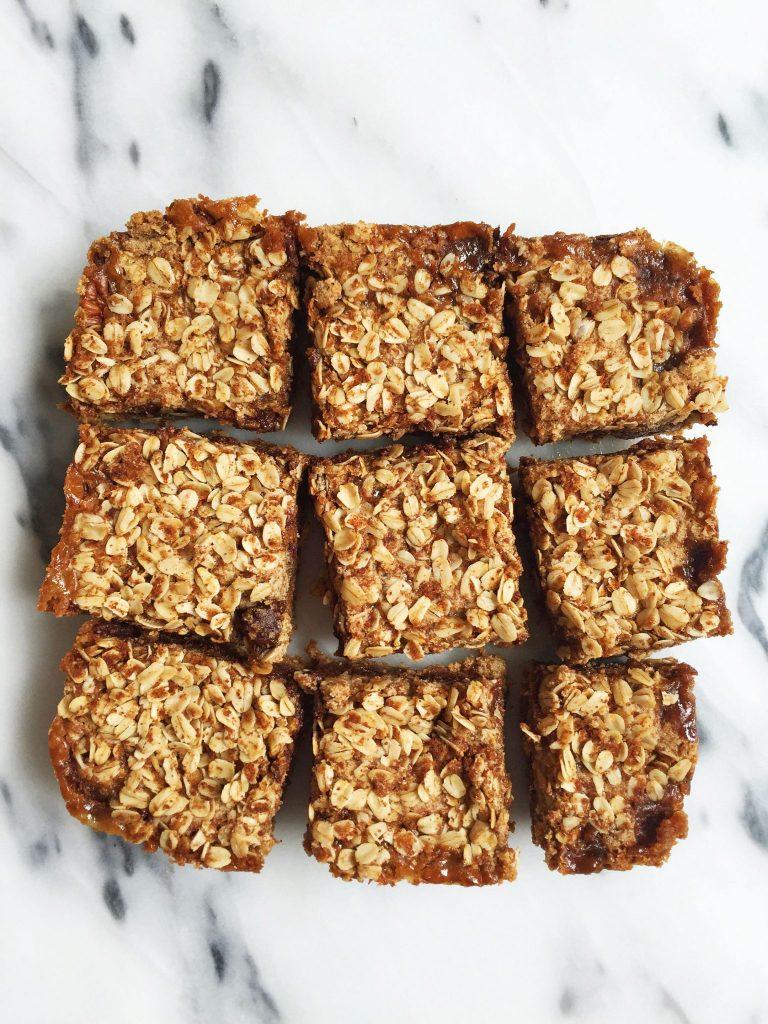 Flourless Oatmeal Cookie Carmelita Bars made vegan & refined sugar-free
