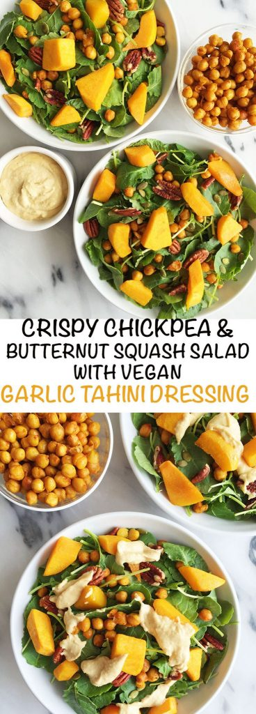 Roasted Chickpea & Butternut Squash Kale Salad with Creamy Garlic Tahini Dressing