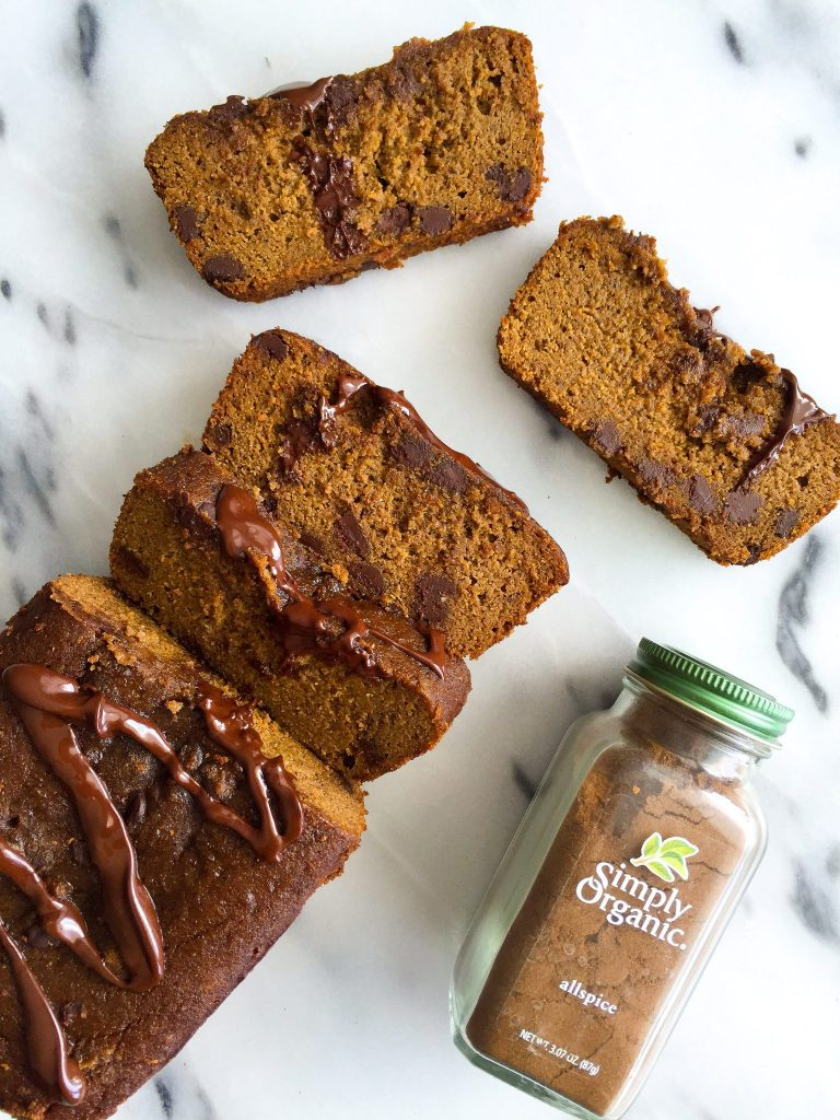 Easy Dark Chocolate Chip Gingerbread Loaf that is grain & dairy-free! A healthy and delicious gingerbread!