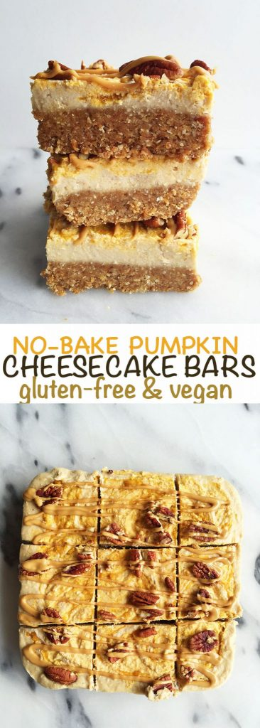 No-Bake Pumpkin Swirl Cheesecake Bars that are vegan and gluten-free