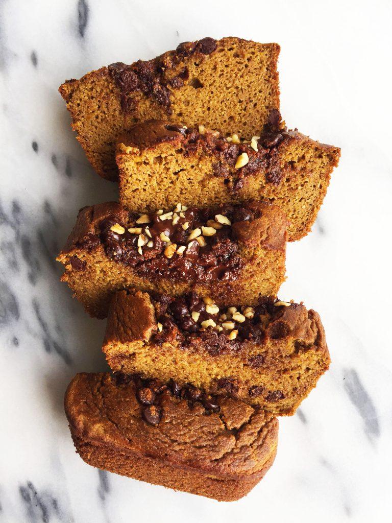 Flourless Pumpkin Bread with Dark Chocolate Streusel that is grain & refined sugar-free
