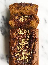 Flourless Pumpkin Bread with Dark Chocolate Streusel