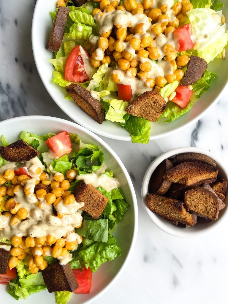 Crispy Buffalo Chickpea Caesar Salad with Homemade Croutons