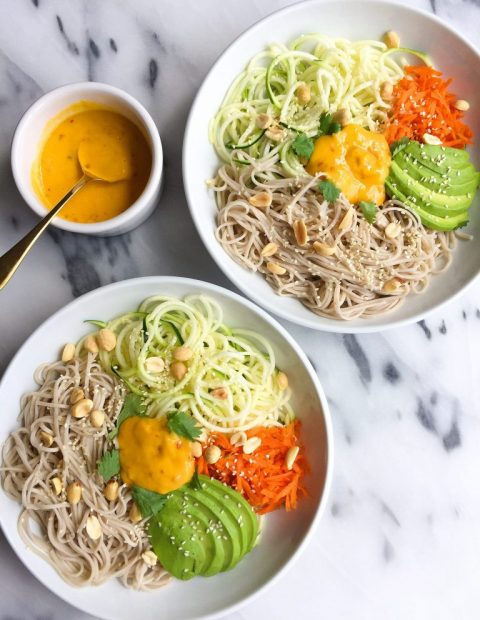 10-minute Soba Noodle Salad with Mango Ginger Dressing