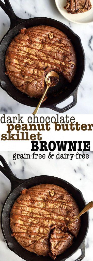 Grain & dairy-free Dark Chocolate Peanut Butter Skillet Brownie