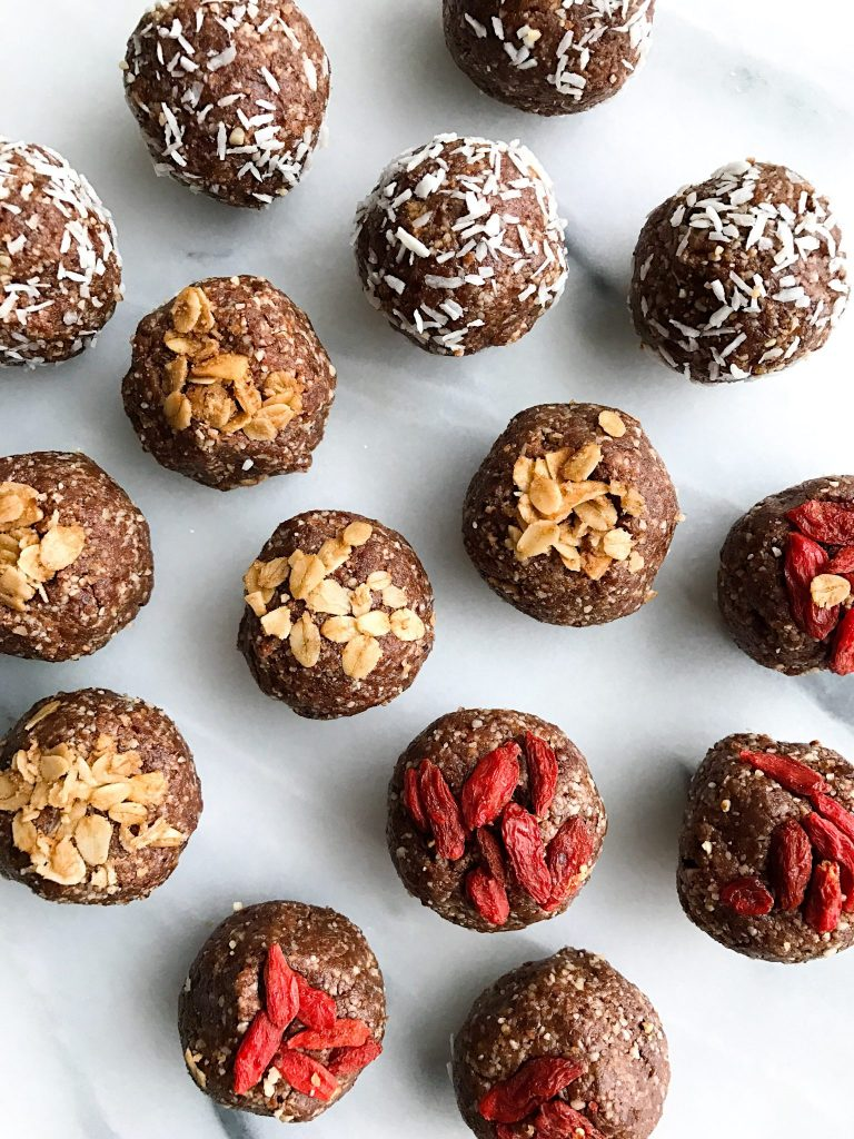No Bake Cacao Donut Holes that are low sugar, grain free & vegan