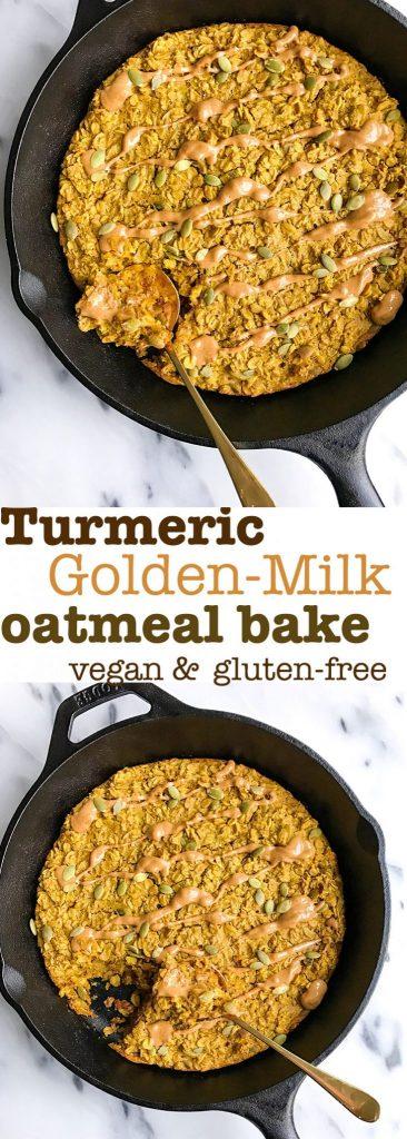 "Turmeric ""Golden Milk"" Oatmeal Bake"