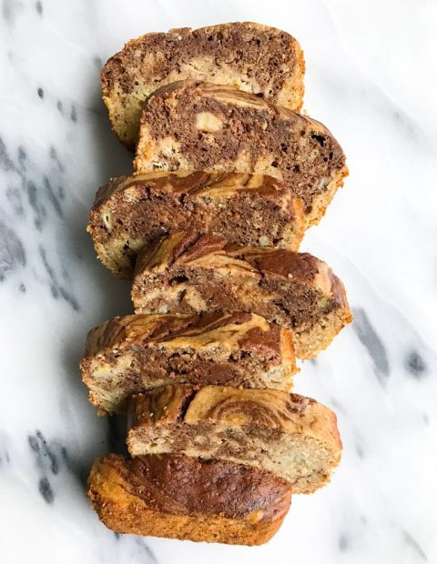 Dark Chocolate Marble Spelt Flour Banana Bread