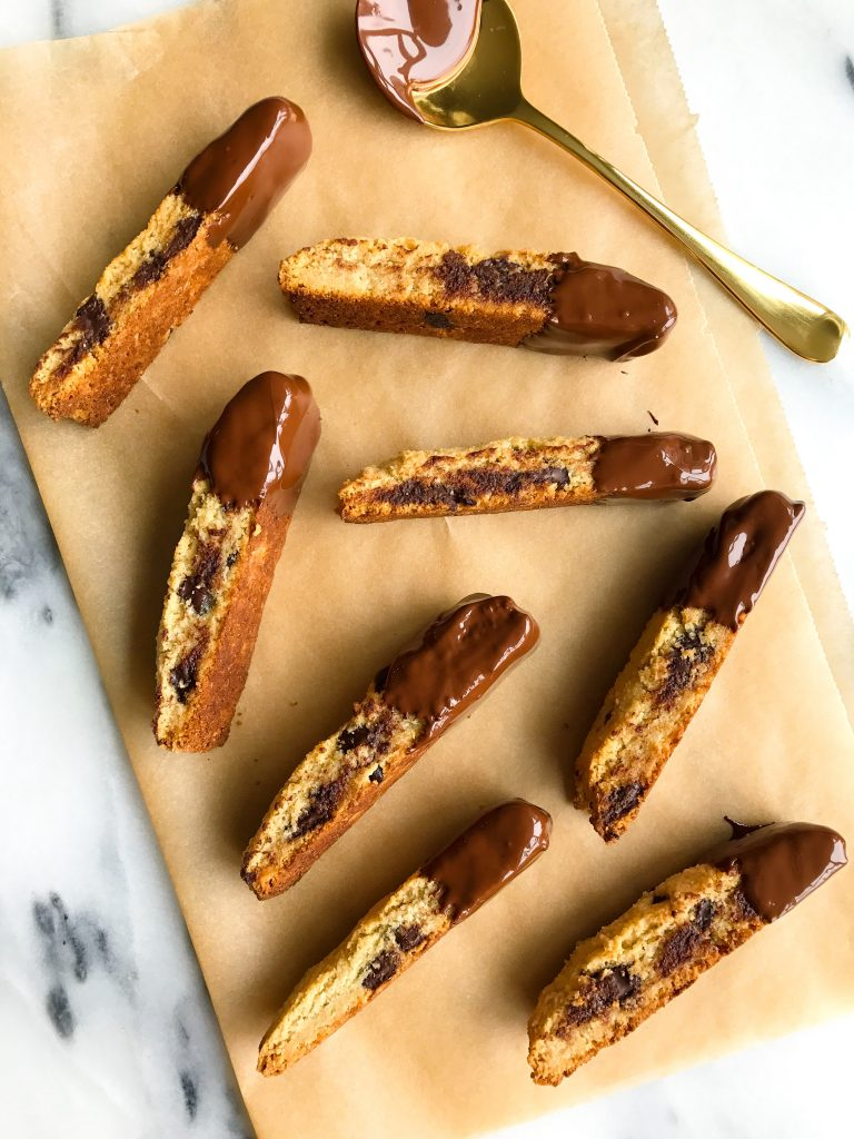 Nutty Dark Chocolate Chunk Almond Flour Biscotti that are grain & dairy-free