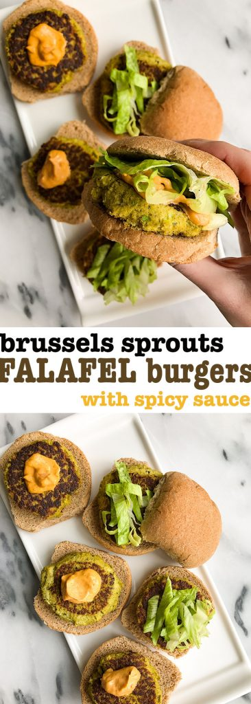 Brussels Sprout Falafel Burgers with Spicy Sauce that are grain-free and super easy!