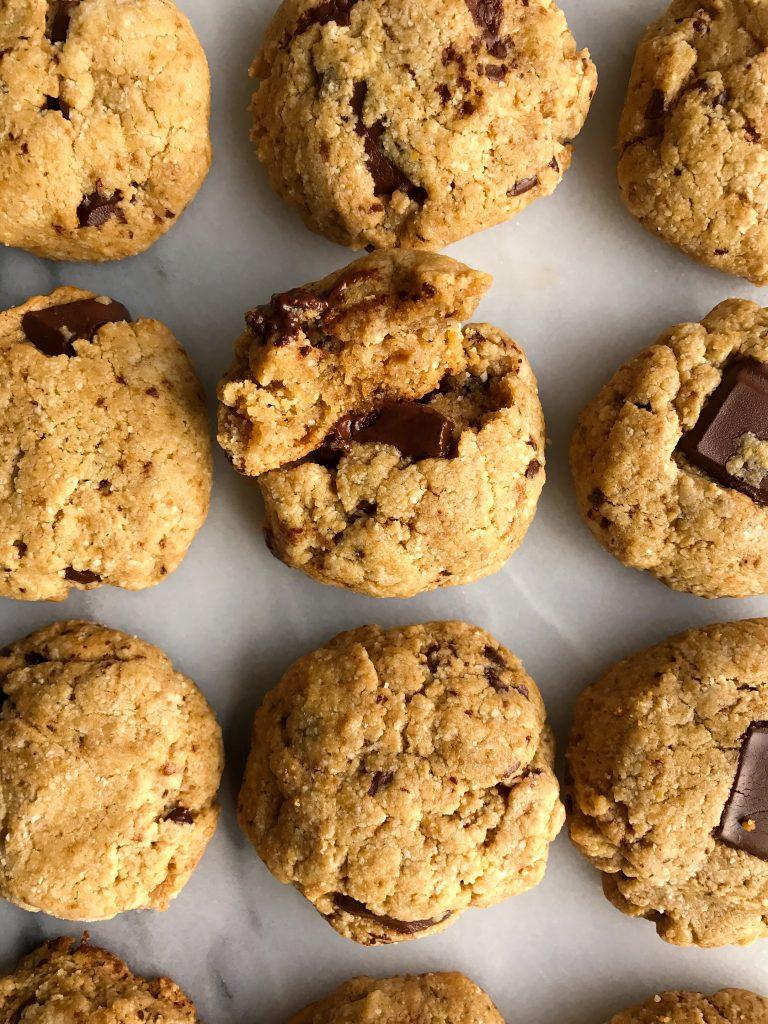 Chocolate Chunk Tahini Cookies that are grain-free and vegan-friendly!