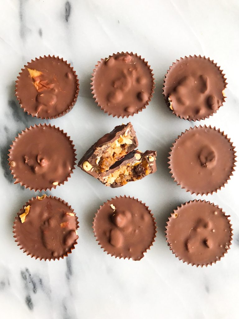 Healthy Homemade Peanut Butter Pretzel Snickers Cups