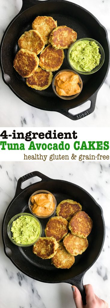 4-ingredient Tuna Avocado Cakes made with almond flour and healthy ingredients!
