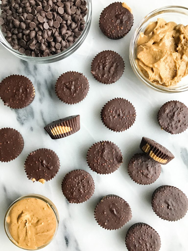 Crispy Dark Chocolate Nutty Cups filled with creamy almond and cashew butter and coated with a…