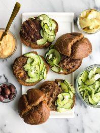 Easy Hummus Stuffed Burgers with Greek Cucumber Slaw