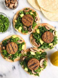 Garlicky Kale Veggie Sausage Tostadas (vegan & gluten-free)