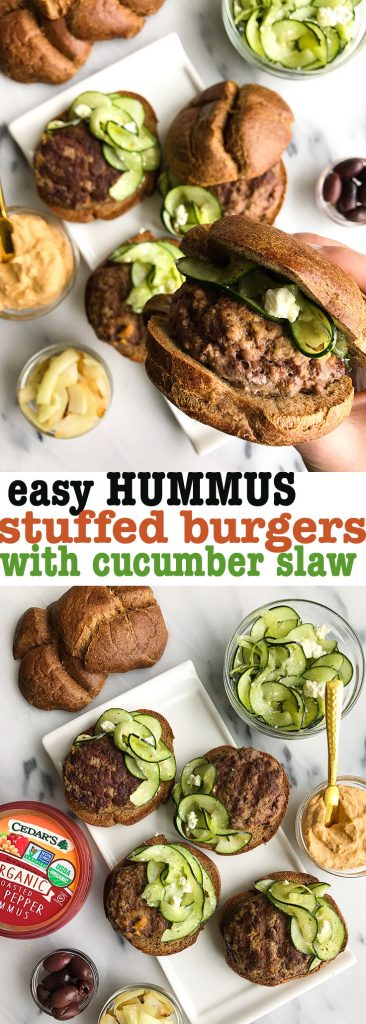 Easy Hummus Stuffed Burgers with Greek Cucumber Slaw for a healthy, easy burger recipe!