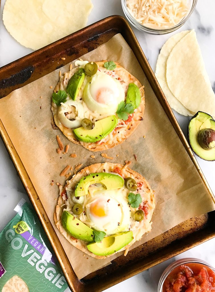 Veggie-loaded Tortilla Breakfast Pizzas made with minimal ingredients for a fun breakfast dish!