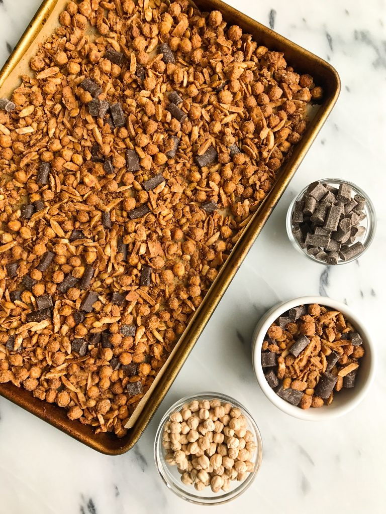 Deliciously easy Dark Chocolate Sea Salt Grain-free Chickpea Granola made with no added sugar!