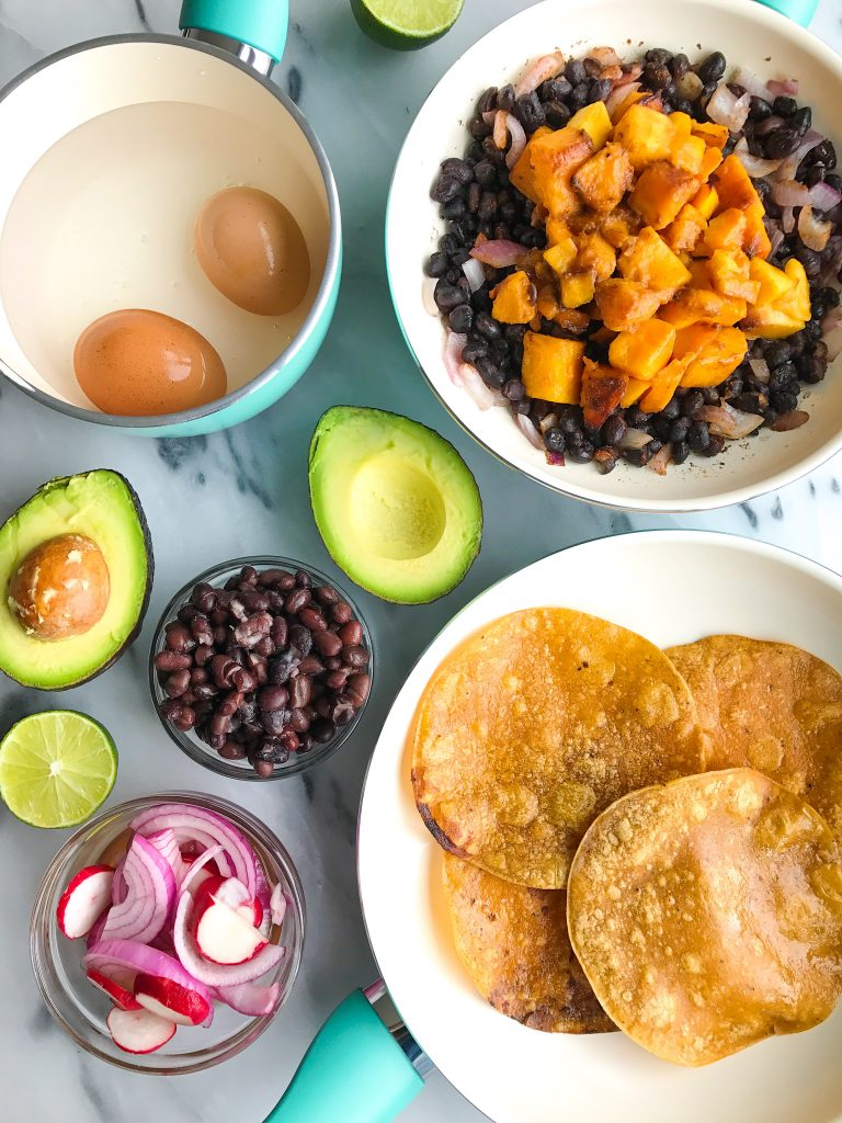 Butternut Squash, Black Bean & Egg Tostadas made with healthy and nutritious ingredients!