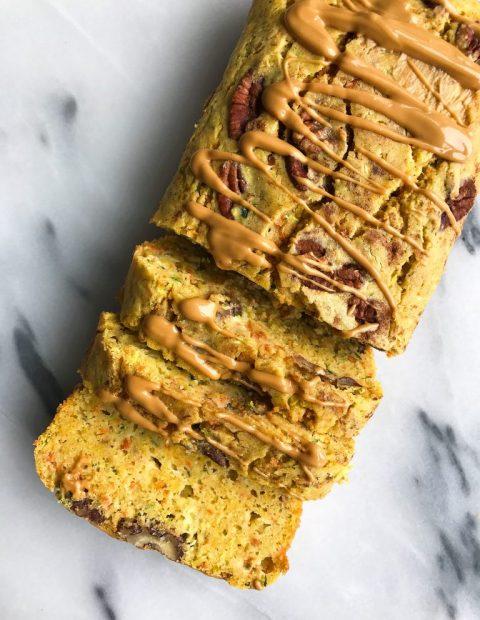 Chickpea Flour Carrot Zucchini Bread (low sugar, gluten + dairy free)