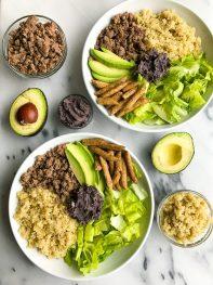 10-minute Taco Bowl with Black Bean Dip