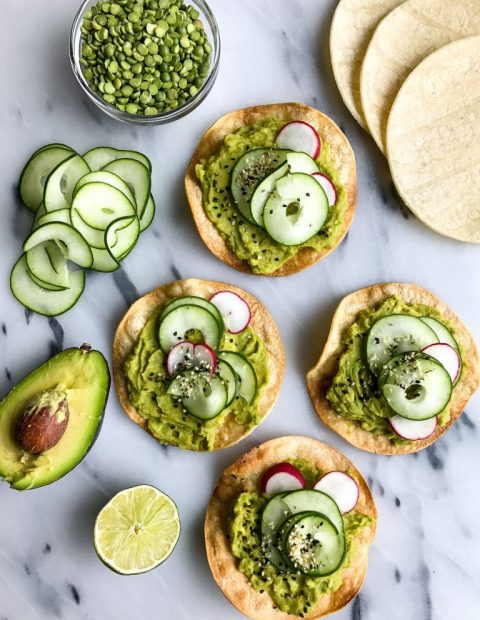 Split Pea Avocado Mash Tostadas (vegan + gluten-free)