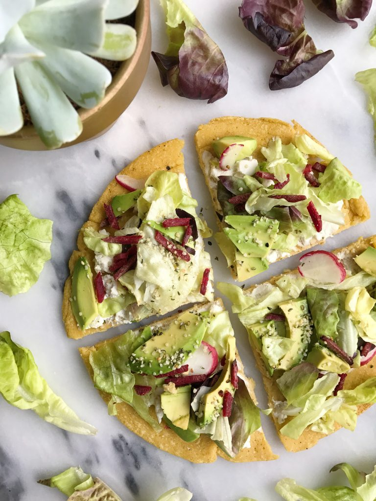 Socca Chickpea Flatbread Pesto Pizza with Crunchy Greens
