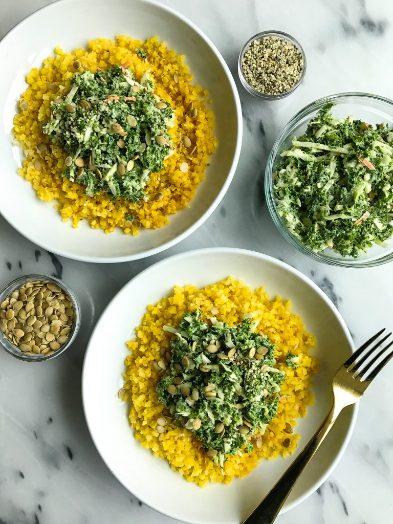 Turmeric Cauliflower Rice Bowl with Crunchy Green Slaw