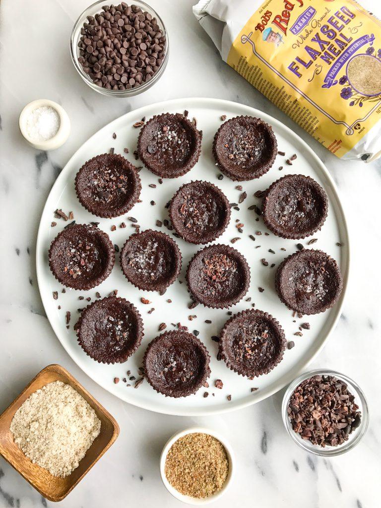 Dark Chocolate Sea Salt Brownie Cupcakes for an easy vegan and grain-free dessert!