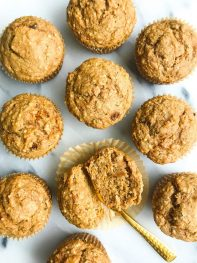 Healthy Bakery-Style Carrot Cake Muffins (gluten-free)