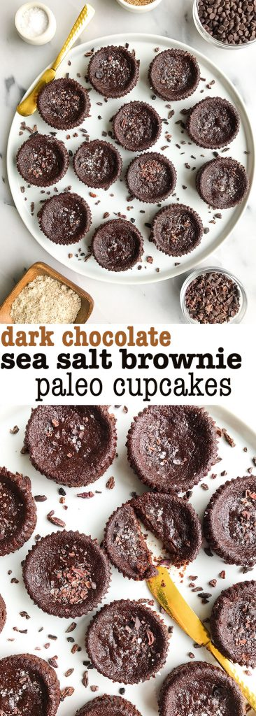 Dark Chocolate Sea Salt Brownie Cupcakes for an easy vegan and grain-free dessert!