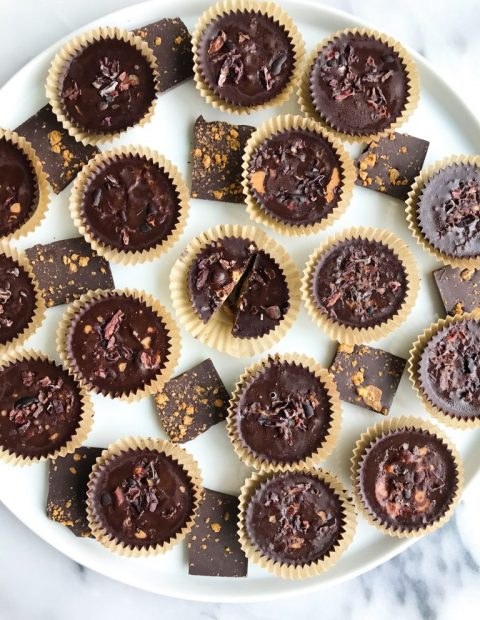 Fatty Dark Chocolate Coconut Butter Cups (with greens + low sugar)
