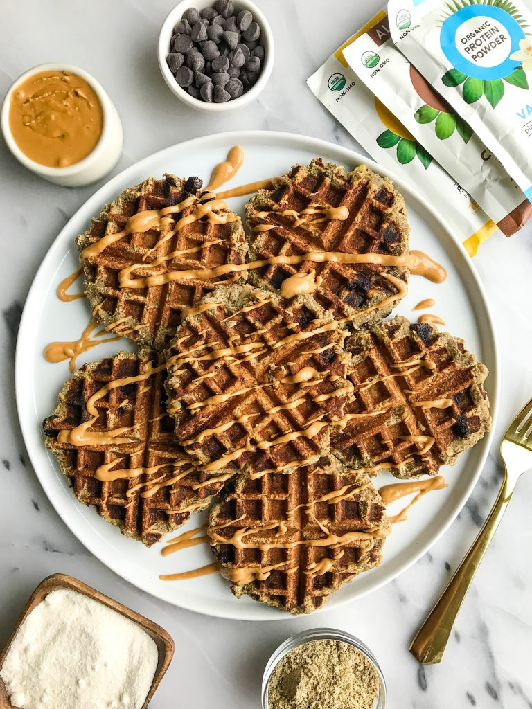 Banana Bread Protein Waffles for a delicious protein-filled, vegan and gluten-free breakfast!