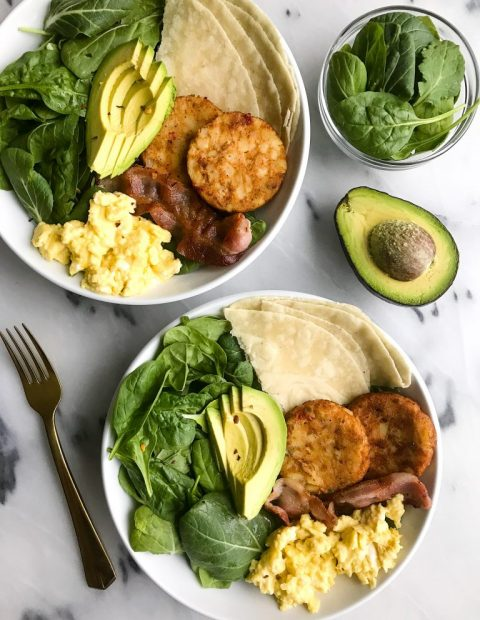 Breakfast Taco Bowls with Soft-Scrambled Eggs + Bacon