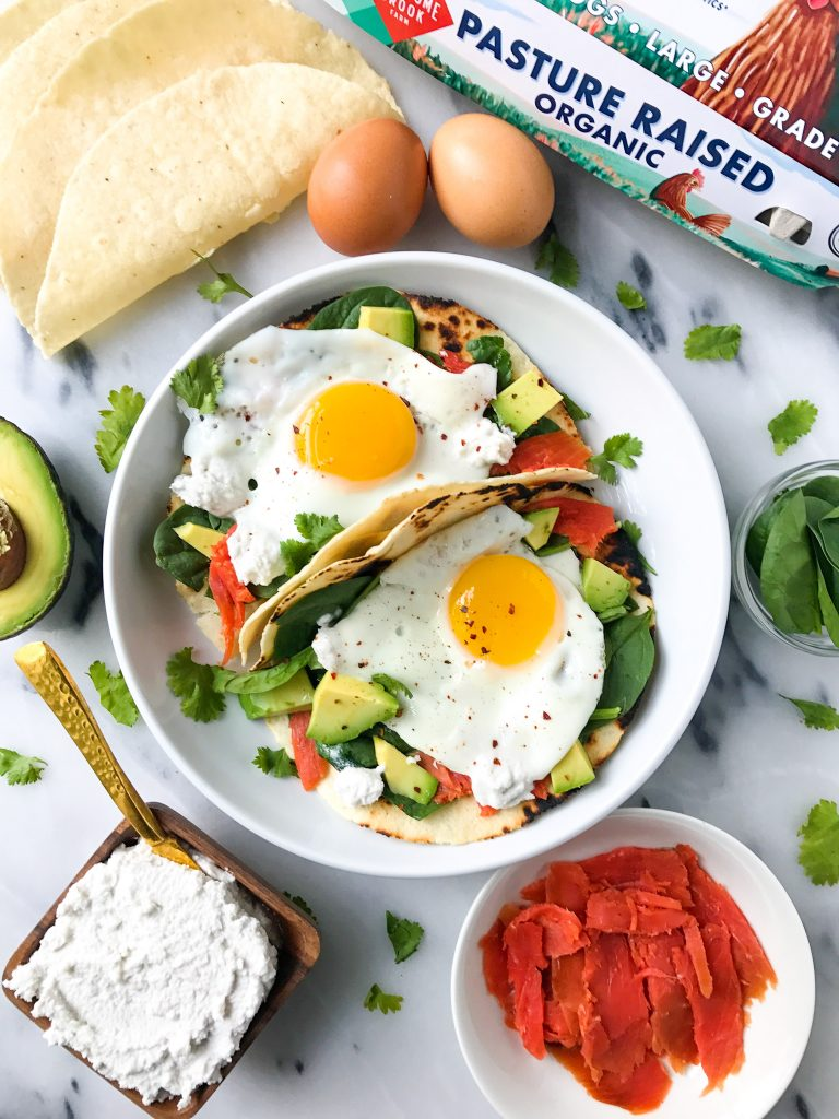 "Savory Breakfast Tacos with Easy Coconut ""Cream Cheese"" for an easy and delicious breakfast!"