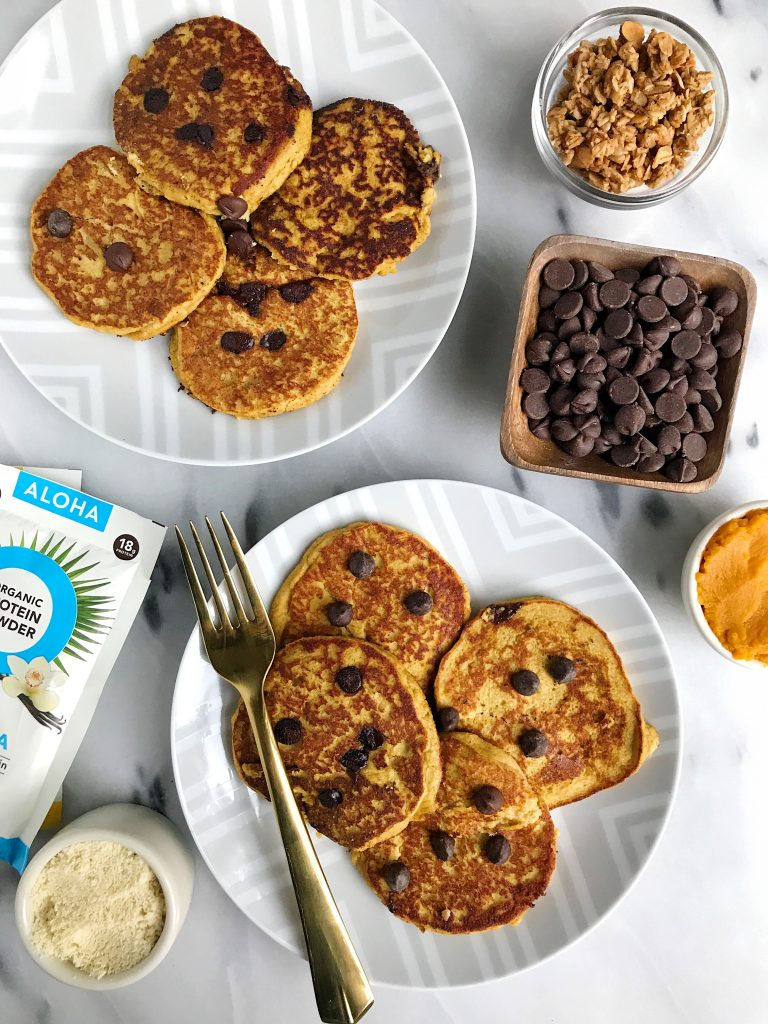 Paleo Pumpkin Chocolate Chip Protein Pancakes