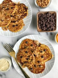 Almond Flour Pumpkin Chocolate Chip Protein Pancakes