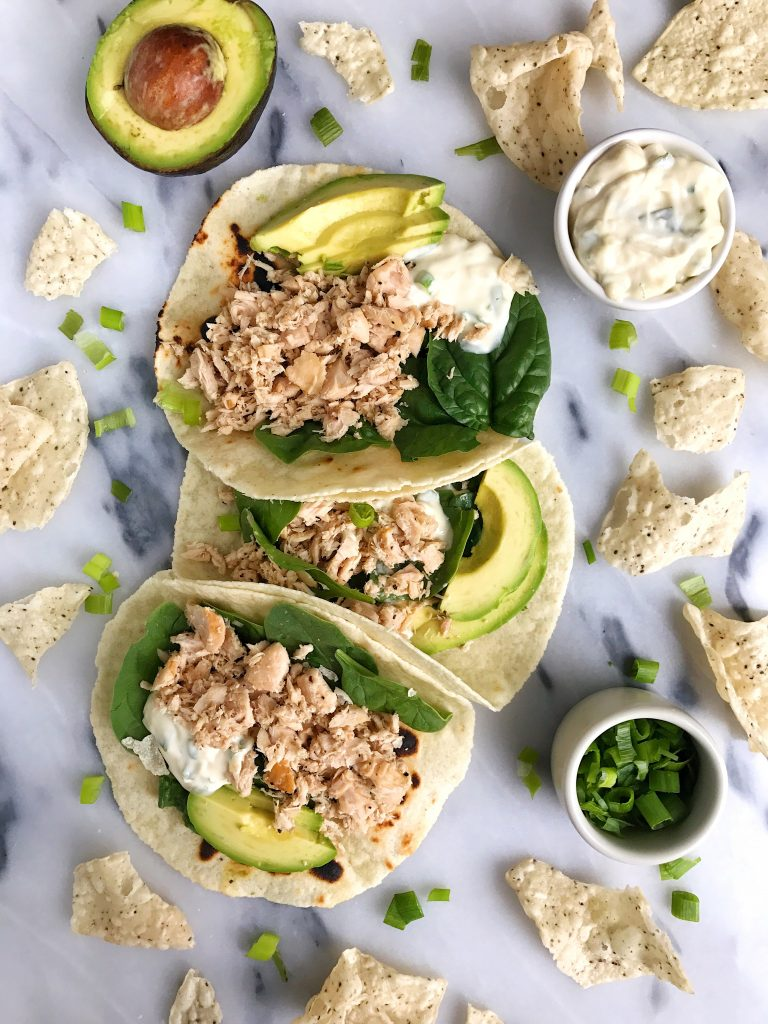 Easy Canned Tuna Tacos with Scallion Crema