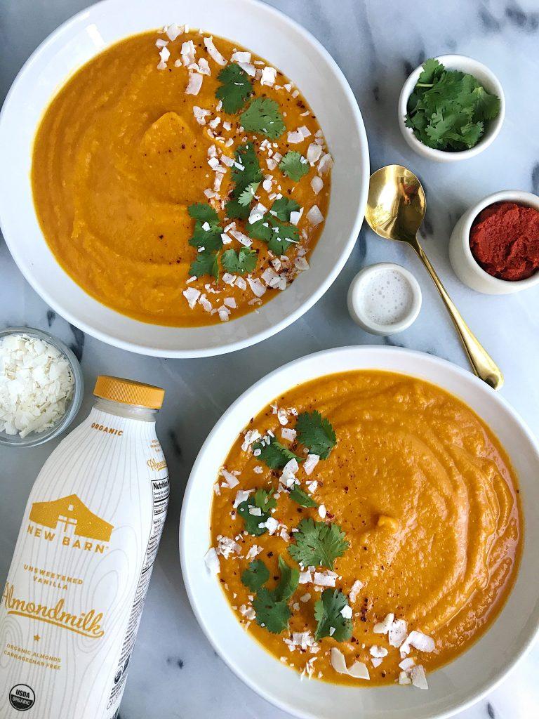Creamy Thai Kabocha Squash Soup for an easy Vegan and Whole30-friendly recipe!