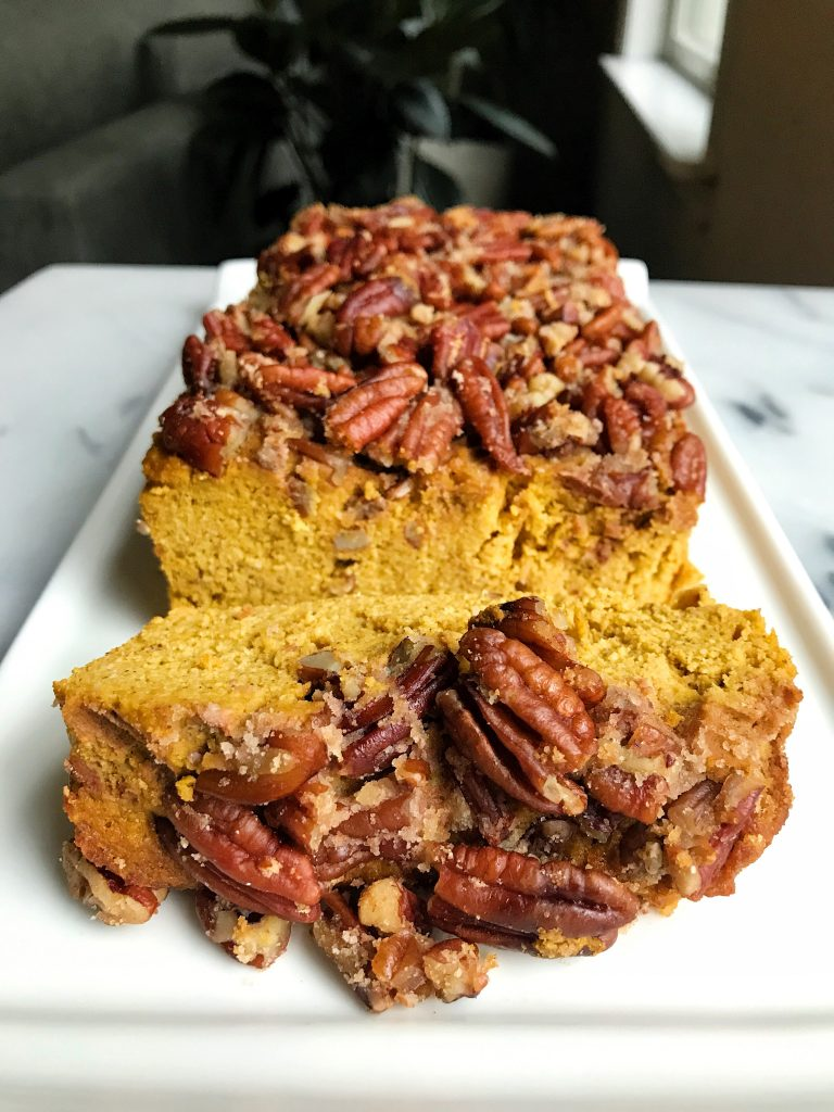 Paleo Pecan Crumble Pumpkin Loaf made with simple ingredients for an easy refined sugar-free and gluten-free fall bread recipe!